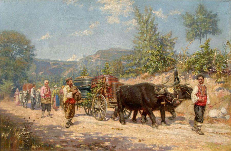 """""""Връщане от гроздобер"""" (1893 г.; Национална художествена галерия)"""