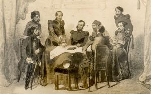 Участници в конференцията, сред които са лорд Реглан, маршал Сент Арно и Омер паша